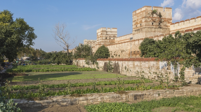 The Theodosian city walls originally built in the 5th century during reign of Theodosius II. (Credit: Ken Welsh/Getty Images)