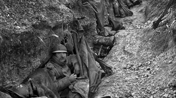 Soldiers in the trenches during World War One, Battle of Verdun. (Credit: Roger Viollet/Getty Images)