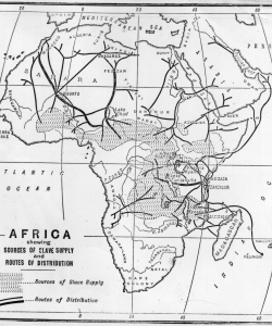 A map showing the sources of slave supply and routes of distribution.  (Credit: Hulton Archive/Getty Images)