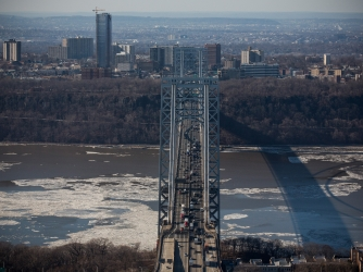 The George Washington Bridge, which connects Fort Lee, NJ, and New York City.  (Credit: Andrew Burton/Getty Images)