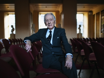 Captain Eric Winkle Brown poses for a portrait at the University of Edinburgh. (Credit: Jeff J Mitchell/Getty Images)