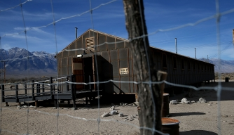 A replica of internment camp barracks stands at Manzanar National Historic Site.  (Credit: Justin Sullivan/Getty Images)