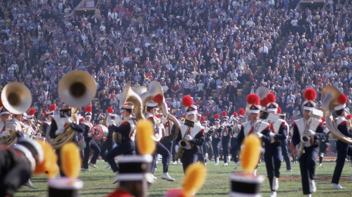 Members of the University of Arizona marching band perform on the field during the halftime show at Super Bowl I. (Credit: Robert Riger/Getty Images)