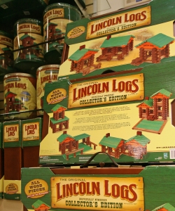 Lincoln logs are seen on display at FAO Schwarz.  (Credit: Stephen Hilger/Bloomberg/Getty Images)