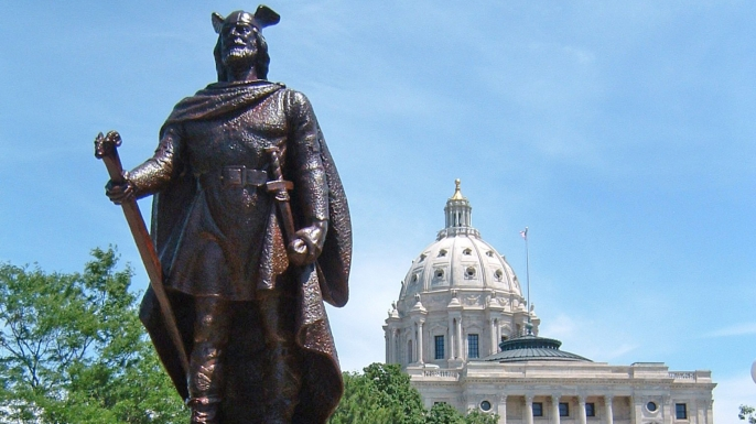 Statue of the Viking Leif Erikson near the Minnesota State Capitol. (Credit: Public Domain)