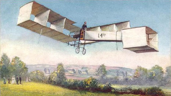 "French postal card showing Santos Dumont flying the ""14 bis."" (Credit: Public Domain)"