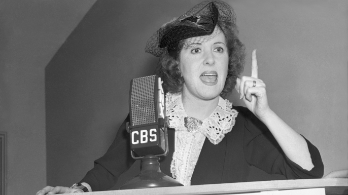 """Gracie Allen campaigning as the """"Surprise Party"""" candidate in 1940. (Credit: CBS via Getty Images)"""