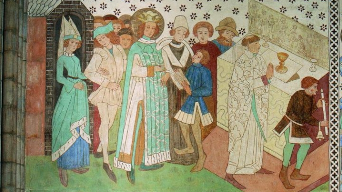 Mural painting from Uppsala Cathedral depicting Erik IX. (Credit: Anders Damberg)
