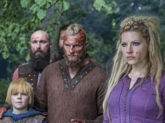 Alexander Ludwig as Bjorn, Katheryn Winnick as Lagertha, Vikings