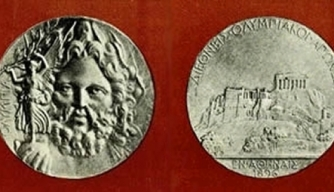 Silver medal given to the champions in Olympic events of 1896. (Credit: Public Domain)