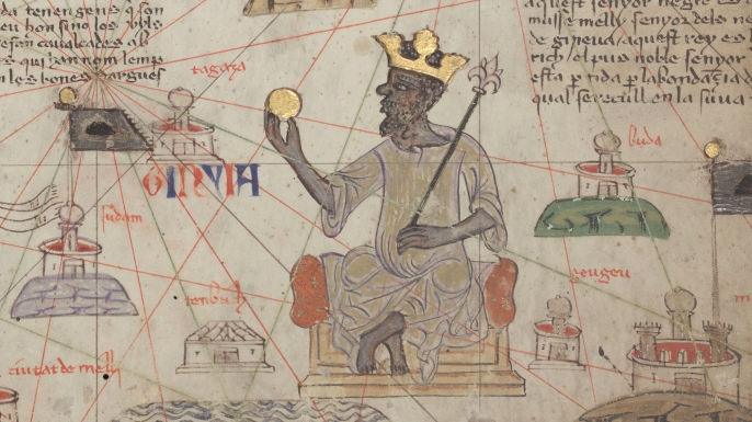 Depiction of Mansa Musa. (Credit: Abraham Cresques/WikiCommons)