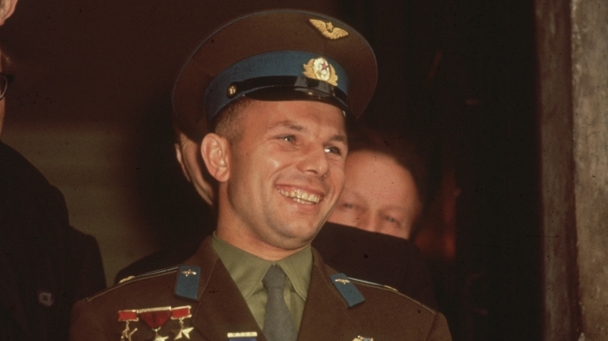 Russian astronaut Yuri Gagarin, taken during his visit to Admiralty House where he met Harold Macmillan. (Credit: Keystone/Getty Images)