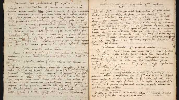 """Manuscript in which Newton copied and annotated an alchemist's cryptic recipe for preparing a substance called """"sophick mercury."""" (Credit: Chemical Heritage Foundation)"""