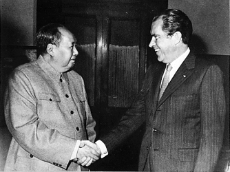 President Nixon meets with China's Communist Party Leader, Mao Tse-Tung. (Credit: Public Domain)