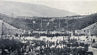The Panathenaic Stadium in Athens during the first day of the 1896 Olympics. (Credit: Public Domain)