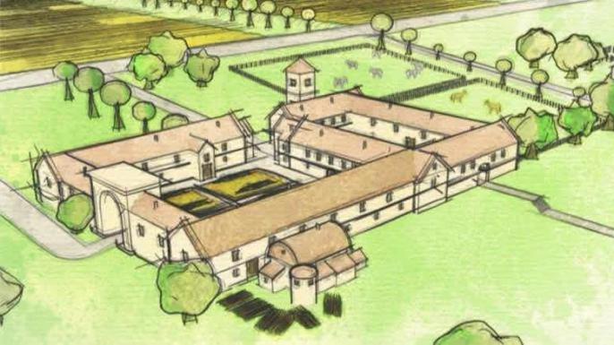 Huge roman villa discovered underneath a garden in britain for Roman garden designs