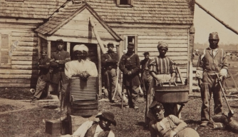 Contrabands (fugitive slaves) at Headquarters of General Lafayette. (Credit: Public Domain)