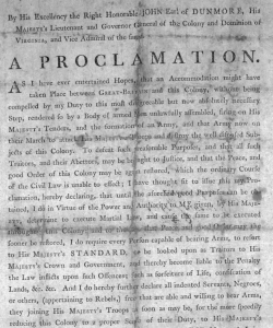 A copy of Dunmore's Proclamation, issued November 7, 1775. (Credit: Public Domain)