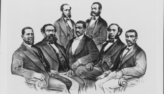Sketched group portrait of the first black senator, H. M. Revels of Mississippi and black representatives of the US Congress during the Reconstruction Era following the American Civil War. (Credit: Archive Photos/Getty Images)