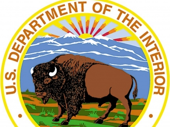 The seal of the US Department of the Interior.  (Credit: Greg Mathieson/The LIFE Images Collection/Getty Images)