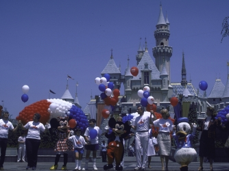 Mickey Mouse, Minnie Mouse and Donald Duck during Hands Across America; Disneyland.  (Credit: Matthew Naythons/Getty Images)