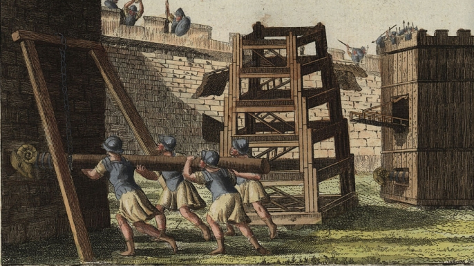 barbarians, weapons, siege machines