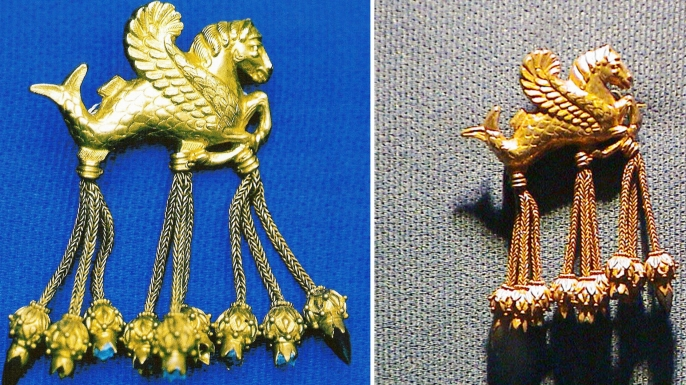 The original (L) and the fake (R) brooch from the so-called Lydian Hoard.  (Credit: AFP/Getty Images)