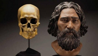 A clay facial reconstruction of Kennewick Man. (Credit: Brittney Tatchell/Smithsonian Institution)