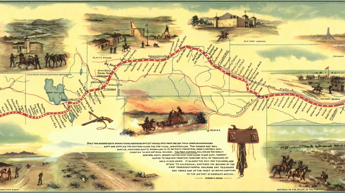 Map of the route followed by the Pony Express. (Credit: Buyenlarge/Getty Images)