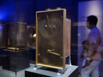 The Antikythera Mechanism known as the world's oldest computer.  (Credit: LOUISA GOULIAMAKI/AFP/Getty Images)