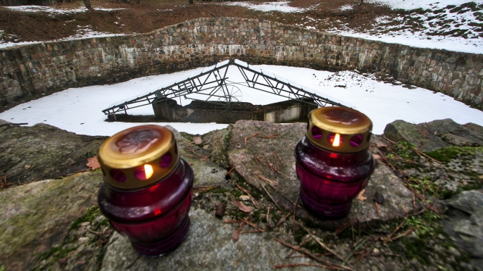 A memorial to the memory of Lithuanian Jews killed during the Holocaust, near the Paneriai holding pit. (Credit: PETRAS MALUKAS/AFP/Getty Images)