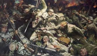 Painting depicting a Welsh unit at the Battle of the Somme.