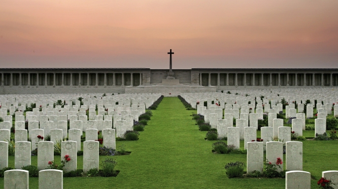 Memorial and cemetery for victims of the battle of the somme near Pozieres, France.