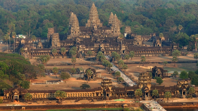 An aerial view of the Angkor Wat temple in Siem Reap. (Credit: TANG CHHIN SOTHY/AFP/Getty Images)
