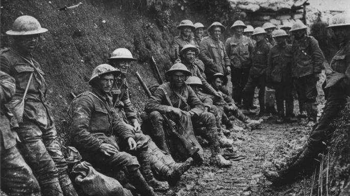 A unit of the Royal Irish Rifles at the Battle of the Somme