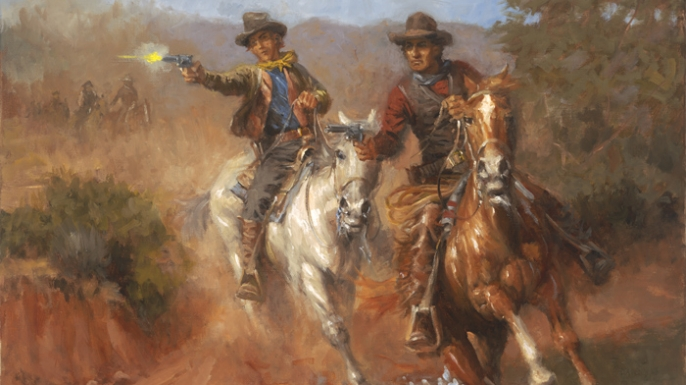 "Painting depicting Billy the Kid (left) and another member of ""The Regulators."""