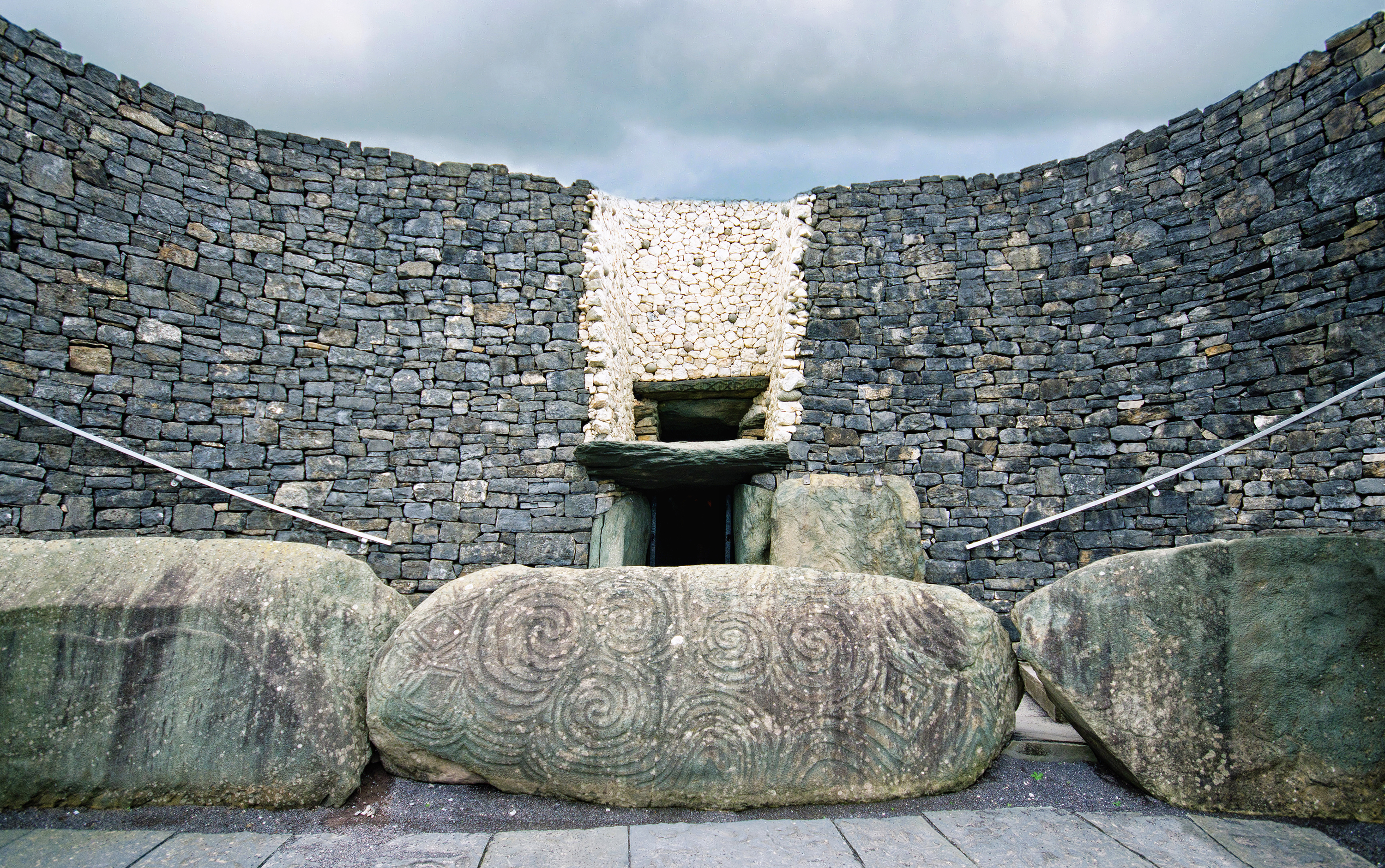 The stone at the entrance to Newgrange showing the megalithic artwork in detail. (Credit: Michelle McMahon/Getty Images)