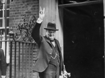 Winston Churchill outside 10 Downing Street in June 1943. (Credit: H F Davis/Getty Images)