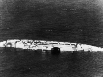 Andrea Doria, part of Italy's transatlantic liner fleet, now lies a battered wreck about 300 miles east of New York after colliding with the Swedish liner Stockholm. (Credit: Keystone/Getty Images)