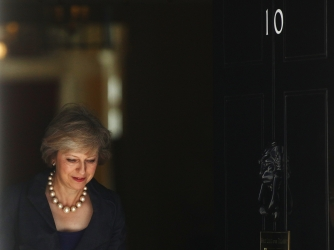 Theresa May departs a cabinet meeting in 10 Downing Street days before becoming prime minister. (Credit: Chris Ratcliffe/Bloomberg via Getty Images)