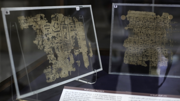 Papyri displayed in the Egyptian Museum in Cairo. (Credit: MOHAMED EL-RAAI/AFP/Getty Images)