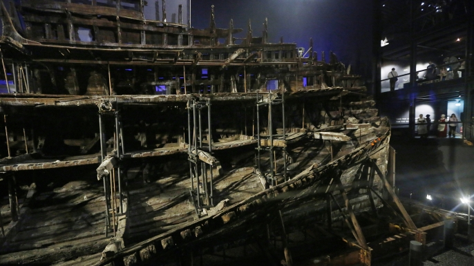 The hull of Henry VIII's warship, Mary Rose. (Credit: Olivia Harris/Getty Images)