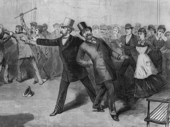 Engraving depicting the assassination of President Garfield.