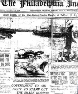Philadelphia Inquirer front page after capture of a shark
