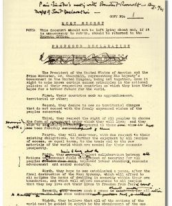 Churchill's edited copy of the final draft of the Atlantic Charter. (Credit: National Archives)