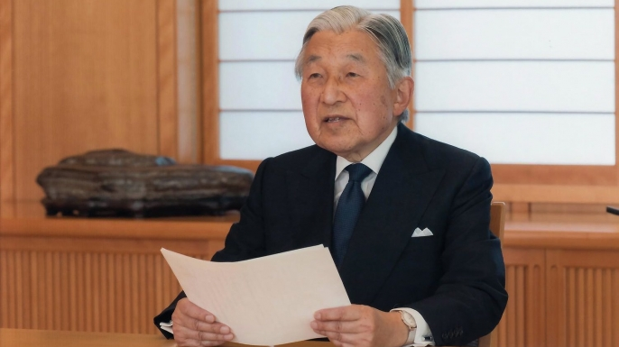 Japan's Emperor Akihito giving a televised address to the nation. (Credit: Imperial household / EPA)