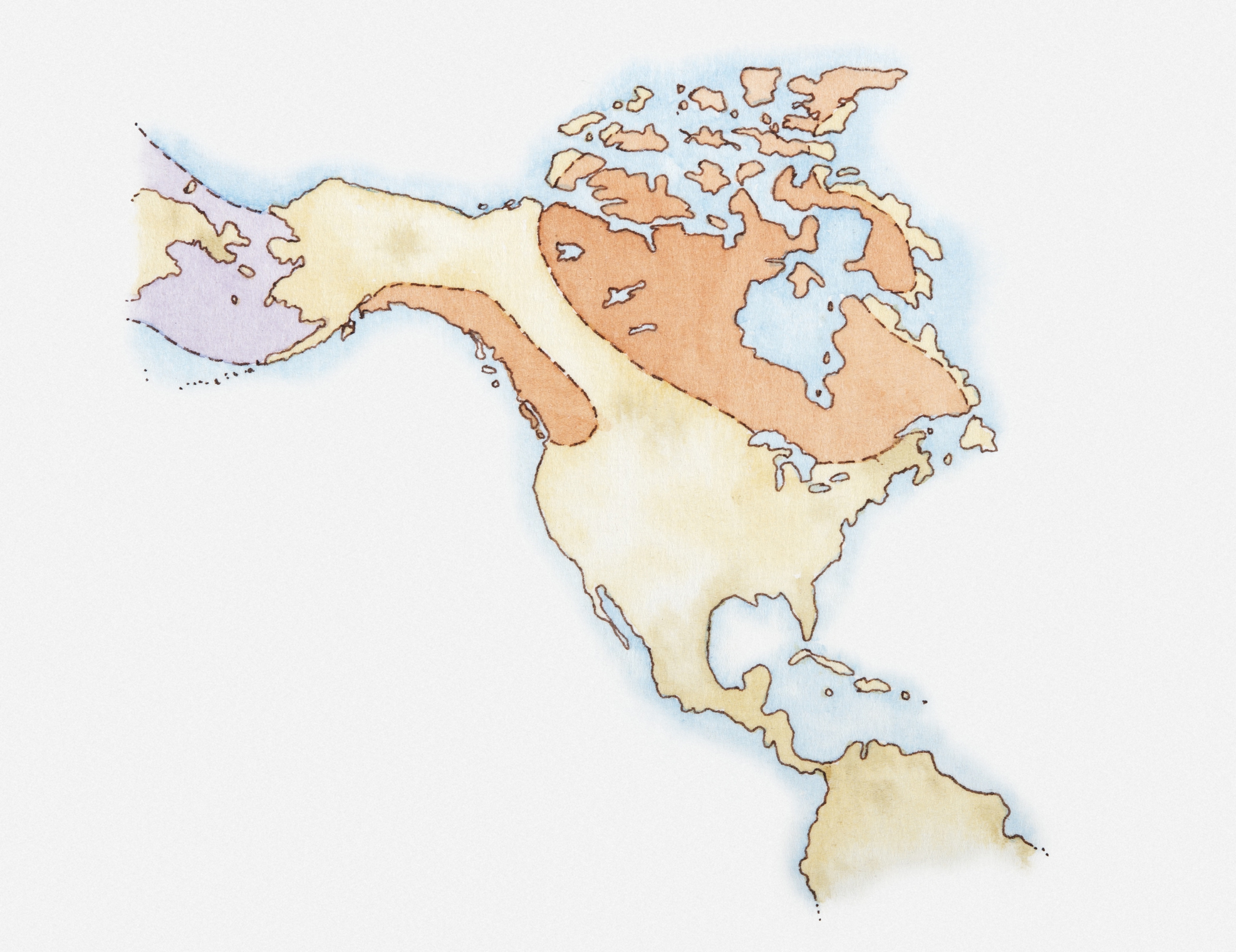 Ilration Of North America And Greenland With Areas Covered In Ice Highlighted In Red Land