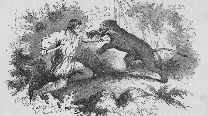 Etching of Crockett fighting a cougar.