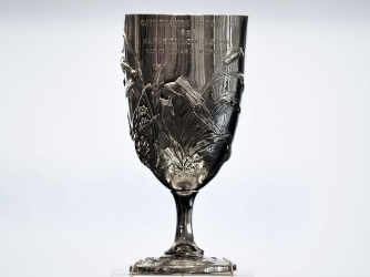 The silver cup awarded to Spyros Louis, winner of the marathon race at the 1896 first modern Olympic Games. (Credit: LOUISA GOULIAMAKI / GettyImages)