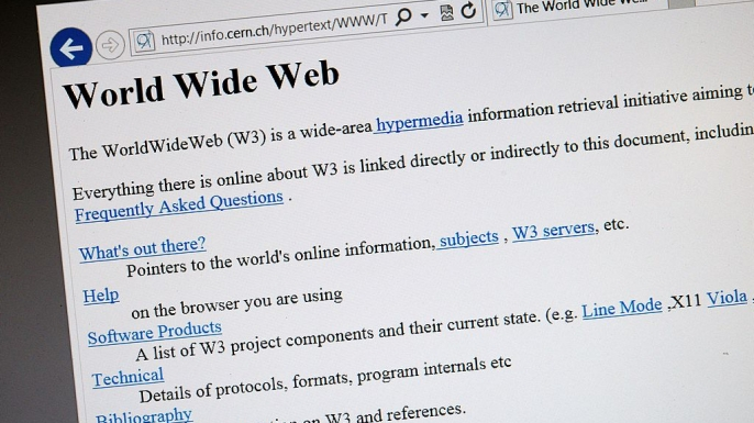A 1992 copy of the world's first web page. (Credit: FABRICE COFFRINI/AFP/Getty Images)